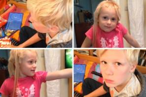 Geschwisterliebe: Leo, hast du Jana die Haare geschnitten?